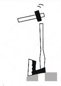 inserimento del manico con una mazzetta