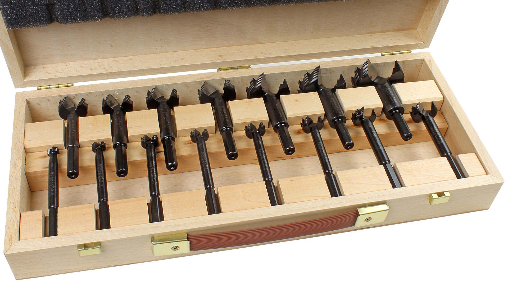 15 To 50 MM 9-teiliger Set IN Wooden Box Famag 1624.509 Bormax 2.0 Ws First