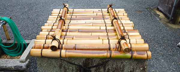 Well cover made of bamboo in Arashiyama near Kyoto