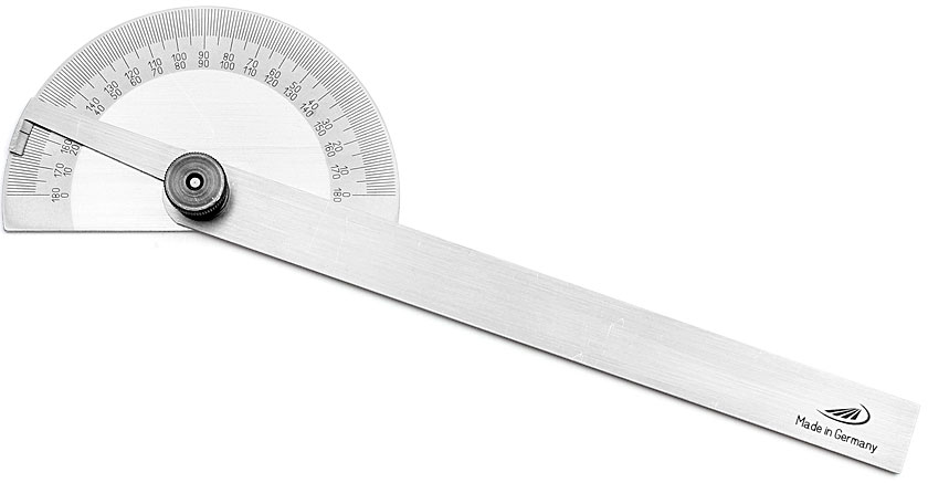 PREISSER Protractor with halfround base