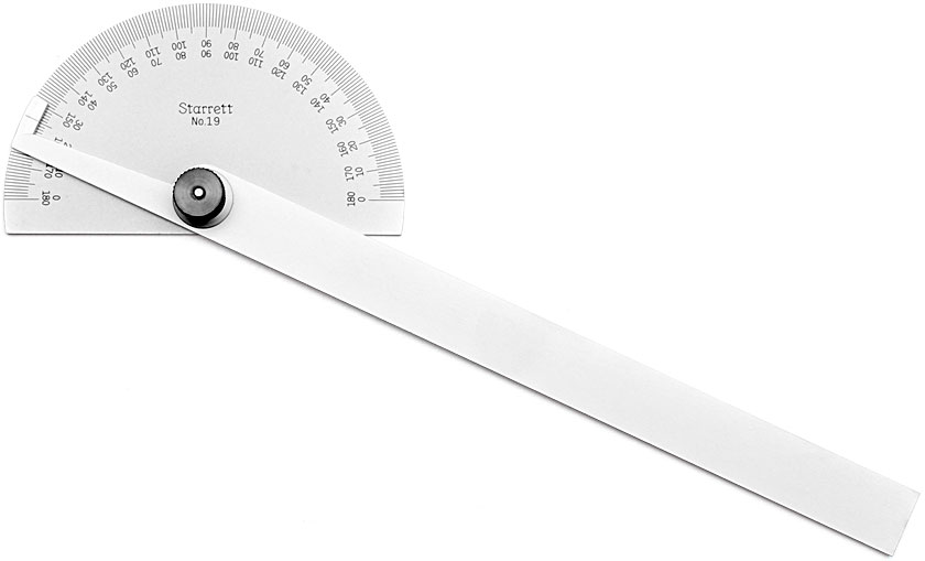 STARRETT Steel Protractor with halfround head