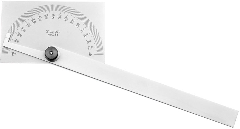 STARRETT Steel Protractor with rectangular head