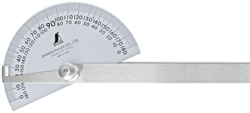 Large SHINWA Protractor with halfround base