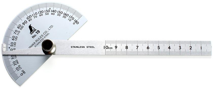 SHINWA Goniometro con base semicircolare
