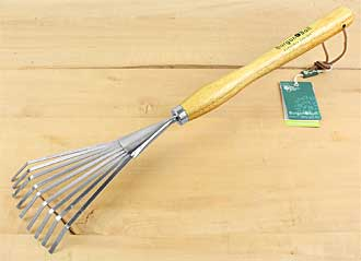 Stainless shrub rake with long wooden handle