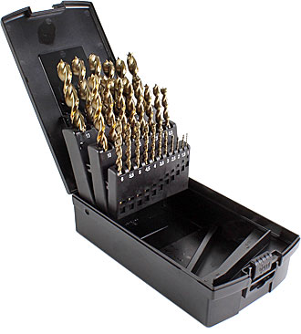 Set of 25 HSS-G brad point drill bits, in plastic case