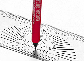 Marker Rule with integrated protractor