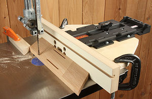 Positioning the jig on a band saw