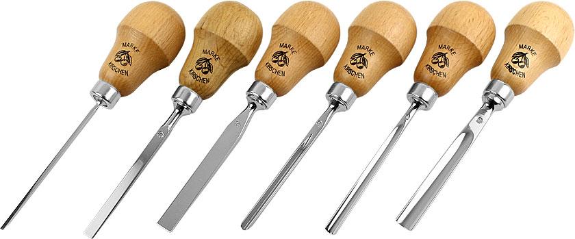 Set Due Ciliegie di 6 coltelli da intagli piccoli con impugnatura a forma di pera