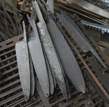 After raw forging, the blade blanks are ready to be ground, sharpened and finished.