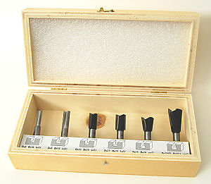 Set of 6 Router Bits (Mixed Set 2) cons. of 4 Straight Cutters and 2 Dovetail Bits