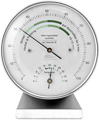 Fischer thermo-hygrometer on base for temperature and humidity