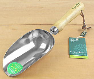 Stainless compost scoop with wooden handle