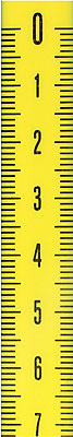 Steel measuring tape with adhesive backing to read from top to bottom