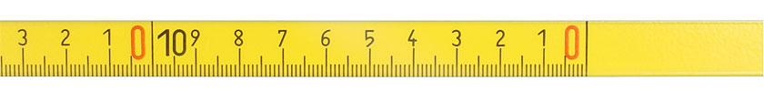 Metro a nastro con retro adesivo in acciaio, verso di lettura da destra a sinistra, graduazione in mm