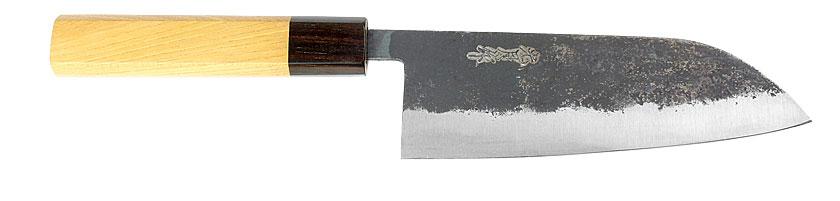 Black Santoku kitchen knife with Shirogami blade