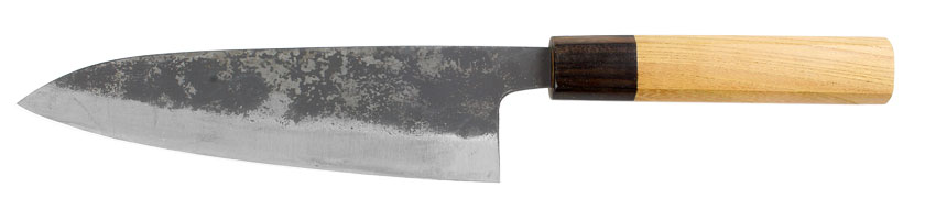 Black Gyuto kitchen knife with Shirogami blade