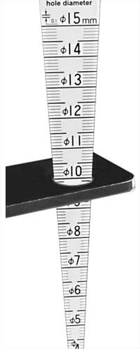 Meßkeil für Spaltmaß und Lochdurchmesser, mit Längenmaß
