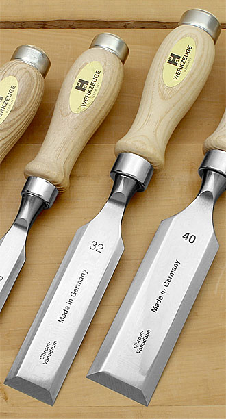 MHG Chisels in standard size with slightly levelled oiled round Ash Handle