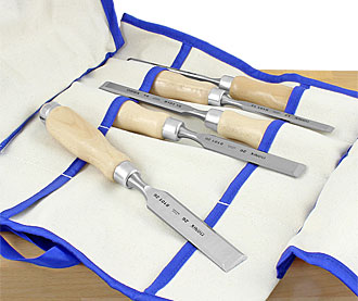 NAREX Set of 5 Chisels in Canvas Tool Roll WOOD LINE PROFI