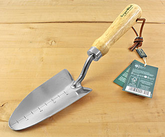 Stainless transplanter with wooden handle
