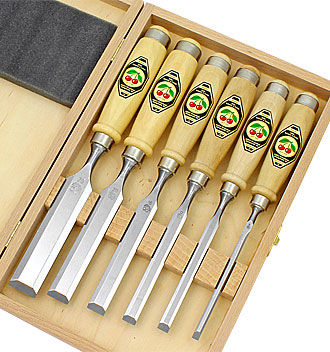 Set of 6 Two Cherries chisels in wooden box