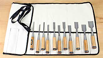 Set of 11 High Speed Steel Japanese Chisels in canvas tool roll