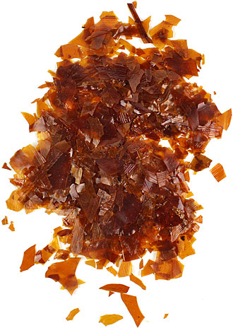 Shellac flakes, natural wax content, lemon