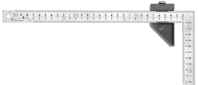 Squadra da carpentiere giapponese rigida, superficie placcata al cromo, 30 x 15 cm, con Stopper, 30 x 15 cm