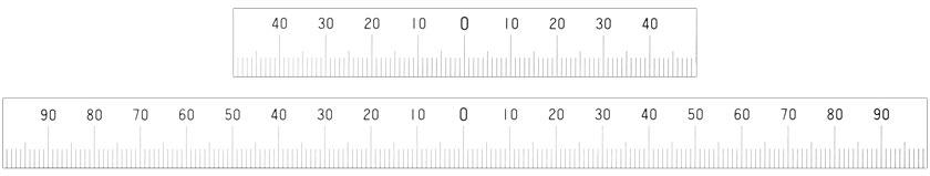 Stahlmaßstäbe mit mittiger Nullmarkierung - mm-Skala an der Unterkante