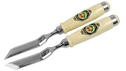 Coppia di scalpelli con manico disassato e tagliente obliquo DUE CILIEGIE