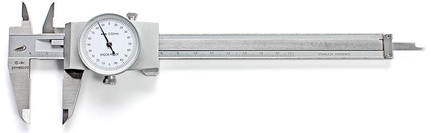 PREISSER Calibro a nonio e a quadrante tascabile con vite di bloccaggio Accuratezza di lettura 0.02 mm