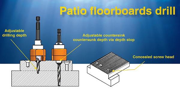 Punta svasatrice con limitatore di profondità per pavimenti da terrazzo in legno